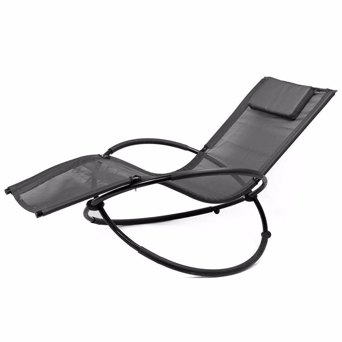 Barton Folding Orbit Zero Gravity Chair Patio Armrest Padded Garden Lounger Rocking Relax Outdoor, Gray by Barton