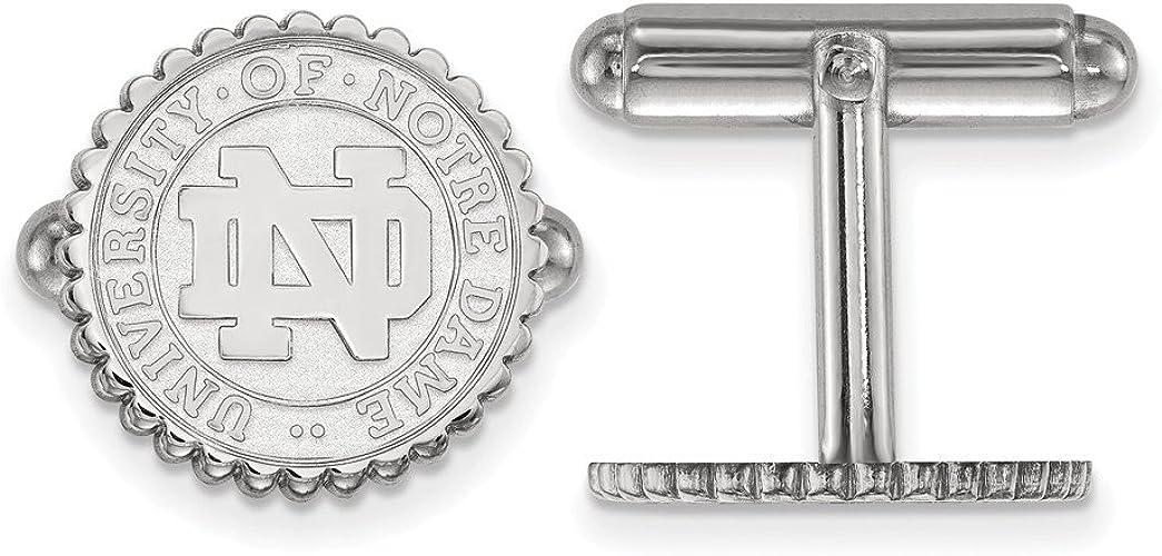 Solid 925 Sterling Silver Logo Art University of Notre Dame Crest Cuff Link