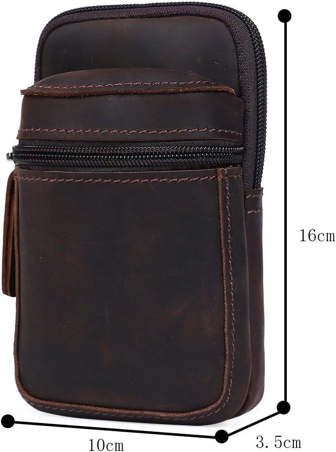 Genda 2Archer Ceinture en cuir sac de taille T/él/éphone sac pochette pour hommes Marron fonc/é CN3128