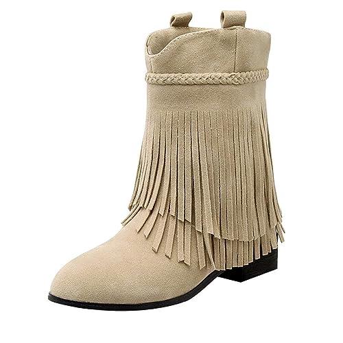 YE Bottine Frange Femme Botte Hiver  Amazon.fr  Chaussures et Sacs 8acca26d2624
