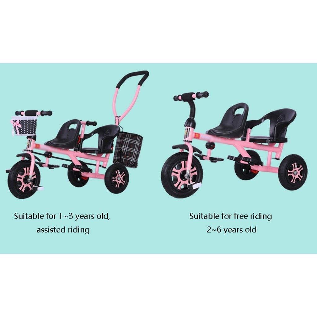 Sillas de paseo ligeras Carrito de viaje for beb/é Triciclo doble for ni/ños Trolley de bicicleta for beb/és gemelos Carrito grande Carrito grande Cesta de almacenamiento de toldo extendido Carritos y si