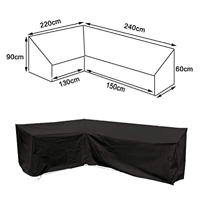 dDanke Patio L Shape Sofa Cover Universal Sectional Furniture Cover with Locking Rope Waterproof Dustproof 87x95 Inch (Black): Home & Kitchen
