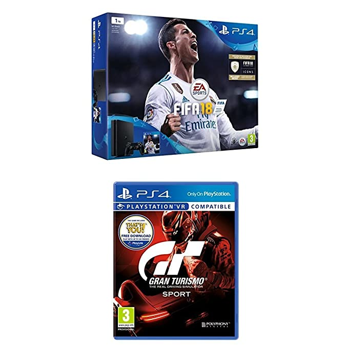 b4f280ba5c6 Sony PlayStation 4 (1TB) with FIFA 18 and Gran Turismo Sport  Amazon.co.uk   PC   Video Games
