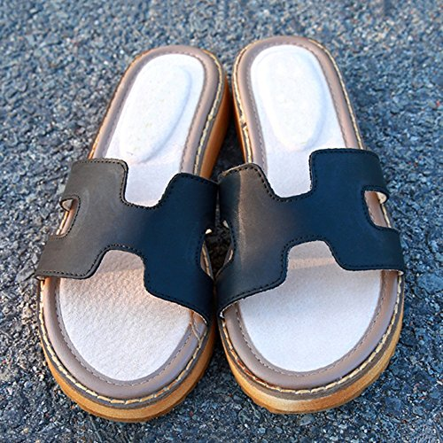 Blanco EU38 Zapatillas Tamaño Sandalias UK5 Flat Verano Material Fashion Amazing CN38 de Desgaste Negro Color PU 5 Exterior 7wOxBqfWwP