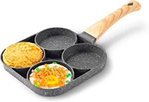 Egg Pan, 4-Cups Aluminium Alloy non-stick frying pan,Multifunctional omelette pan with wood grain handle