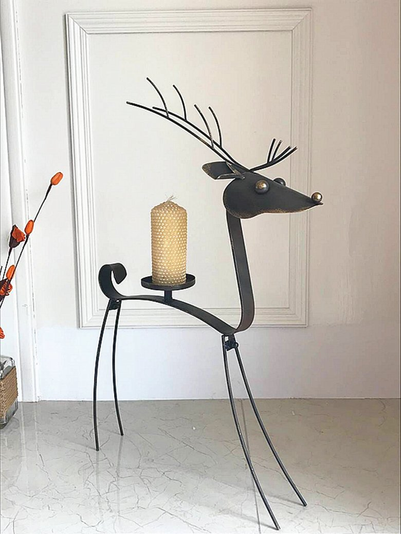 Dipamkar Metal Reindeer Candle Holders Candlestick Floor Candle Stand Tealight Home & Wedding H65cm Dipamkar Limited