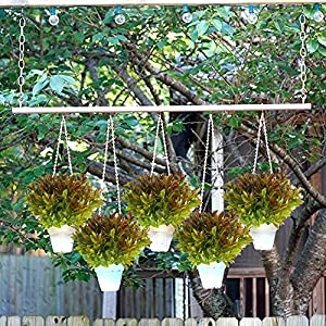 Nahuaa 4PCS Artificial Plants Outdoor Fake Greenery Bush Faux Plastic Shrubs Indoor Outside Table Centerpieces Arrangements Home Kitchen Office Windowsill Spring Decorations 5