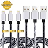 iPhone Charger,3Pack 10FT Lightning to USB Cable Nylon Braided Charging Cord Compatible with iPhone X 8 Plus 8 7 Plus 7 6 6S 6 Plus 5S SE iPod iPad Mini Air Pro (Black Gray)