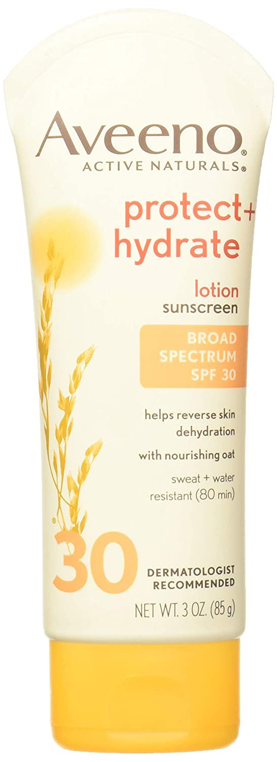 Aveeno Protect + Hydrate Moisturizing Sunscreen Lotion with Broad Spectrum SPF 30 & Antioxidant Oat, Oil-Free, Sweat- & Water-Resistant Sun Protection, Travel-Size, 3 oz (Pack of 2)