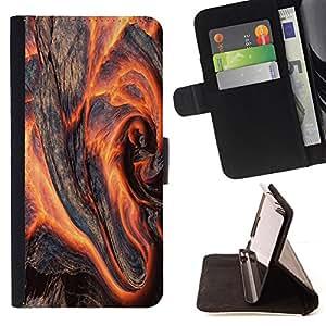 BullDog Case - FOR/Samsung Galaxy S6 / - / Flaming Wood /- Monedero de cuero de la PU Llevar cubierta de la caja con el ID Credit Card Slots Flip funda de cuer