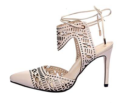 Womens Catxaf Pointed-Toe 7CM Stiletto Self-Tie Sandals Shoes