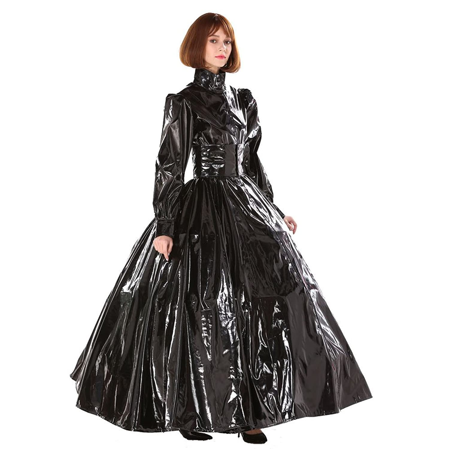 Amazon.com: GOceBaby Gothic Punk Cool Black PVC Ball Gown Dress ...