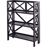 Bookshelf 3 Tier Stacking Folding Book Case Storage Home Office Furniture Black