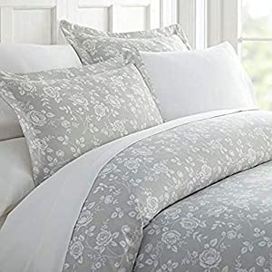Home Collection iEnjoy Home Hotel Collection Premium Ultra Soft Rose Pattern 3 Piece Duvet Cover Bed Sheet Set, Twin/Twin Extra Long, Light Gray