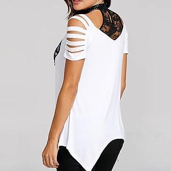 FAMILIZO Blusa Mujer Elegante Camisetas Mujer Manga Corta Algodón Camiseta Mujer Camisetas Mujer Fiesta Camisetas Sin Hombros Mujer Camisetas Mujer Tallas Grandes Camisetas Mujer Verano (S, Blanco): Amazon.es: Ropa y accesorios