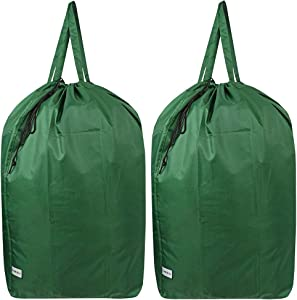 UniLiGis Tear Proof Nylon Laundry Bag with Handles,Hamper Liner with Drawstring Closure for Travel,Dirty Clothes Bag Fit Most Laundry Hamper and Sorter,27.5x34.5'' (Green 2 Pack)