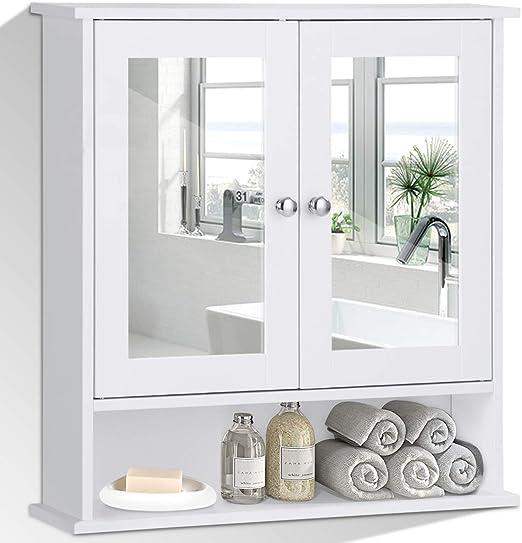 Costway Spiegelschrank Badezimmer Badschrank Mit Spiegel