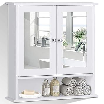 COSTWAY Spiegelschrank Badezimmer, Badschrank mit Spiegel ...