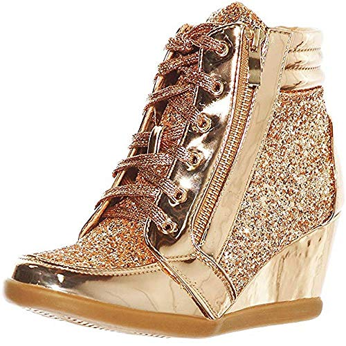 (shoewhatever Women's Metallic Glitter High Top Lace Up Wedge Heels Fashion Sneakers)