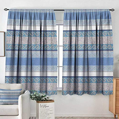 Mozenou Toga Party Custom Curtains Mosaic Inspired Borders in Antique Style Swirl Motifs Geometric Artistic Kid Blackout Curtains 55