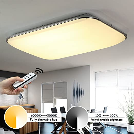 KusunR 40W LED Ceiling Lights Remote Control Fully Dimmable Color Temperature And Brightness Flush