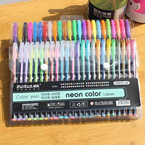SUKEQ 48pcs Coloring Gel Refills Set, Glitter Metallic Pastel Fluorescence Neon Pen Ink Refills with Diamond Tip for Adult Coloring Books, Scrapbooking, Drawing, Dooling by SUKEQ (Image #1)