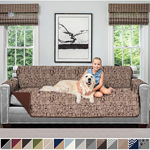 SOFA SHIELD Original Patent Pending Reversible Oversize Sofa Slipcover, 2 Inch Strap Hook, Seat Width Up to 78 Inch Washable Furniture Protector, Couch Slip Cover for Pet, Oversize Sofa, Dog Chocolate