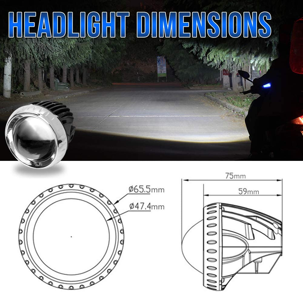 1 Pack 2 inch Motorcycle ATV Driving Lights E-Bike Bicycle LED Headlight Lamp 35W Road Bike Headlight Waterproof Super Bright White Scooters Headlight for E-Bike Truck Car Boat 2 Round Headlight
