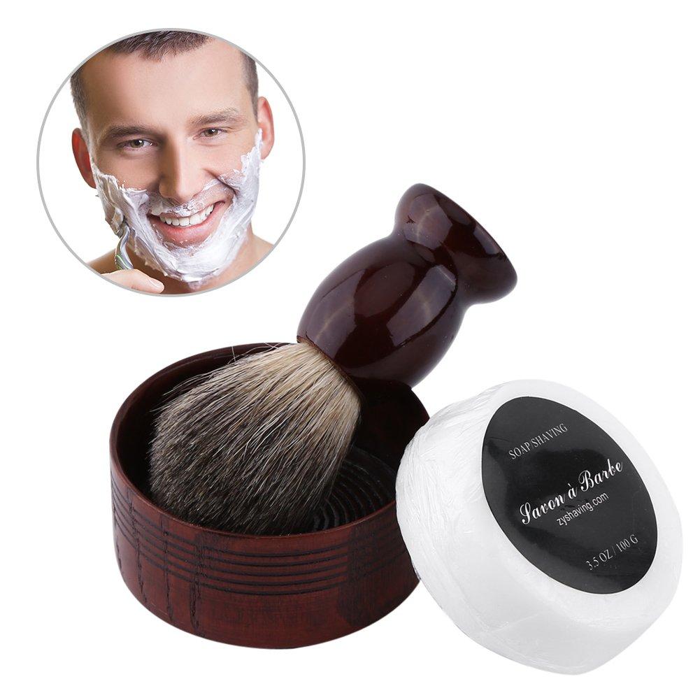 Yotown Kit de Cuidado de la Barba, 3 Piezas Profesionales de los Hombres Conjunto de Herramientas de Afeitar húmedo Faux Badger Cepillo de Pelo y Taza Tazón y jabón Hecho a Mano Peluquería
