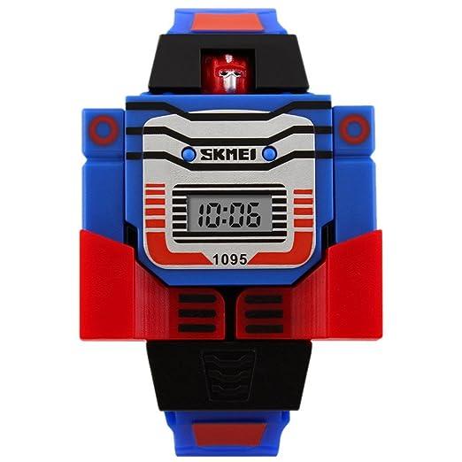 SKMEI - Reloj Electrónico Digital con LED para Niños Estudiantes Formado de Robot Autobot Desmontable como Juguete- Azul: Amazon.es: Relojes