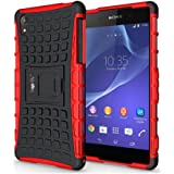 Heartly Flip Kick Stand Hard Dual Armor Hybrid Bumper Back Case Cover For Sony Xperia Z2 - Red