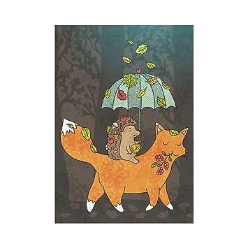 interestprint Funny erizo y Fox con paraguas poliéster bandera de Jardín al aire libre bandera 28