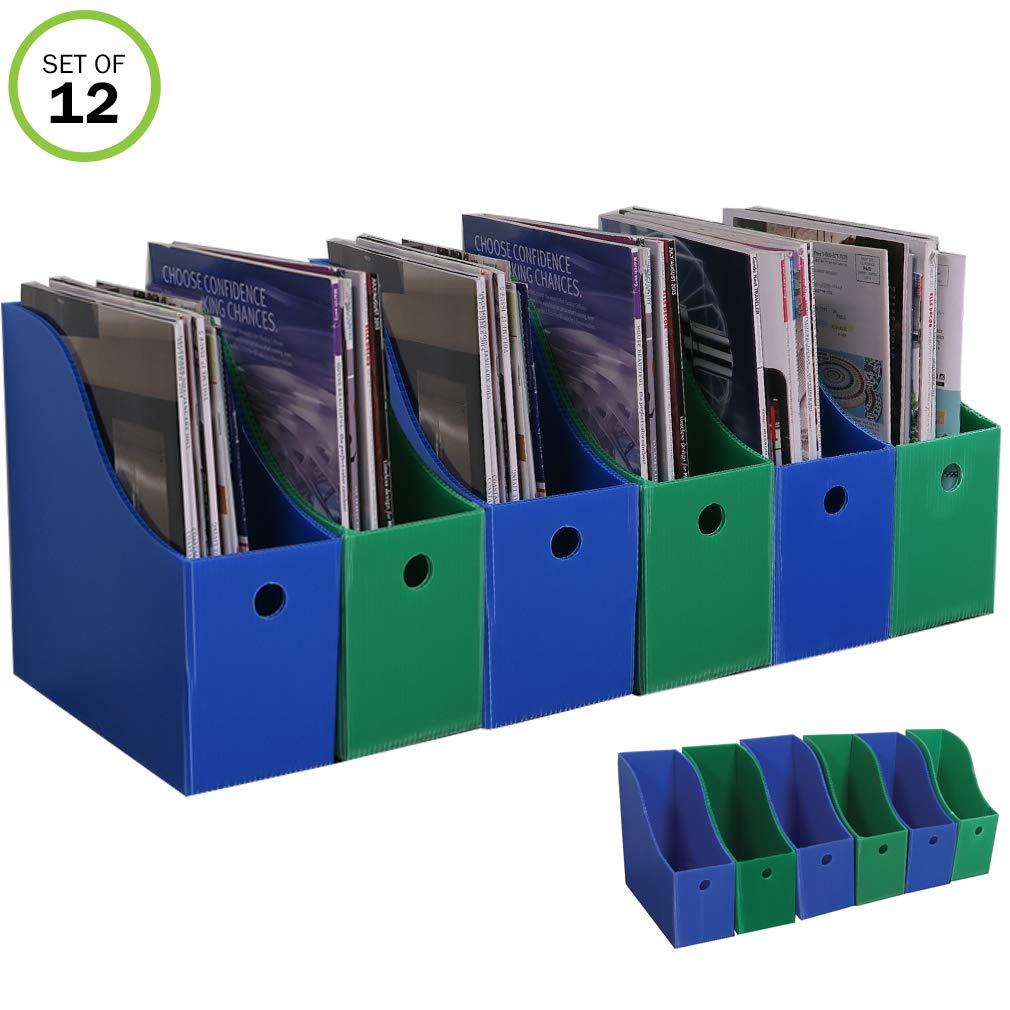 Evelots Magazine File Holder-New Heavy Duty Plastic-Organizer-4'' W-Set/12