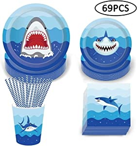Shark Disposable Tableware Set, 69Pcs Shark Party Supplies with Plates Napkins Cups and Straws for Kids Birthday Baby Shower Pool Party Dinner Dessert - 8 Guests