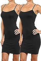 Simlu Women's Basic Seamless Camisole Slip Dress - Long Spaghetti Strap Cami