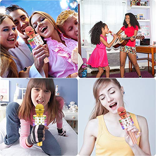 Bluetooth Karaoke Wireless Microphone, Ankuka 4 in 1 Handheld Karaoke Machine Speaker Player with Dancing LED Lights for Home KTV Party/Kids Singing (Rose Gold)