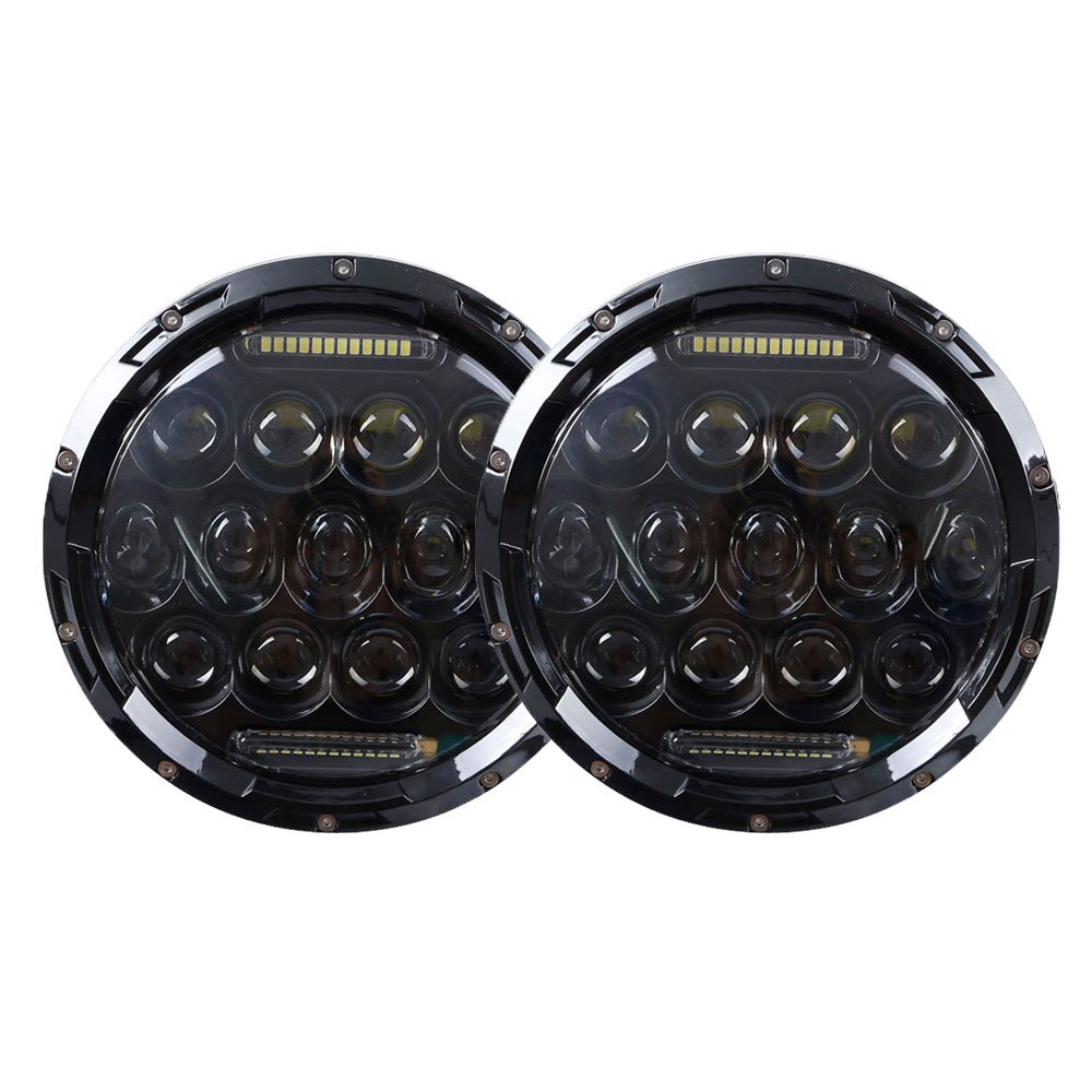 Funlove 7 Inch 75W Round Philips LED Headlight with DRL H/L Beam for Offroad Jeep Wrangler JK TJ Harley Davidson Hummer Driving Lamp