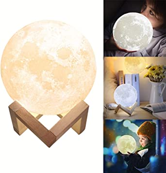 GreenSun LED Lighting Lámpara de Luna 3D, Luz Nocturna Luna LED ...