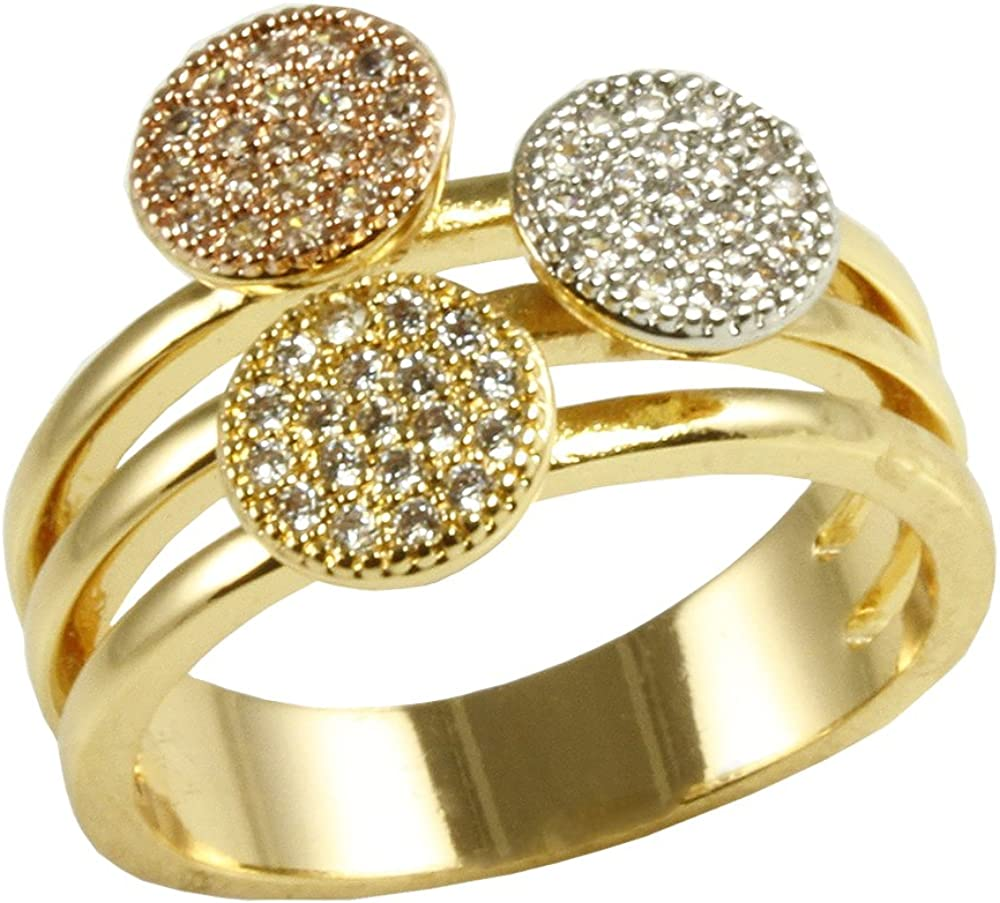 Impression Collection Circle Round Shaped Rings Wedding Party Statement Micro Pave Clear CZ Cocktails Gold Plated Size 6-9
