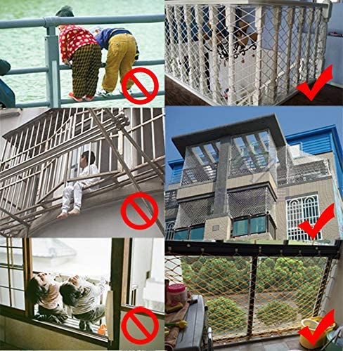 チャイルドセーフティネット、階段落下防止ネット、バルコニー保護ネット、茶色のナイロンロープネット、フェンスネット、カーゴネット、トレーラーネット、ネットカバー (Size : 1*7m(3*22ft))