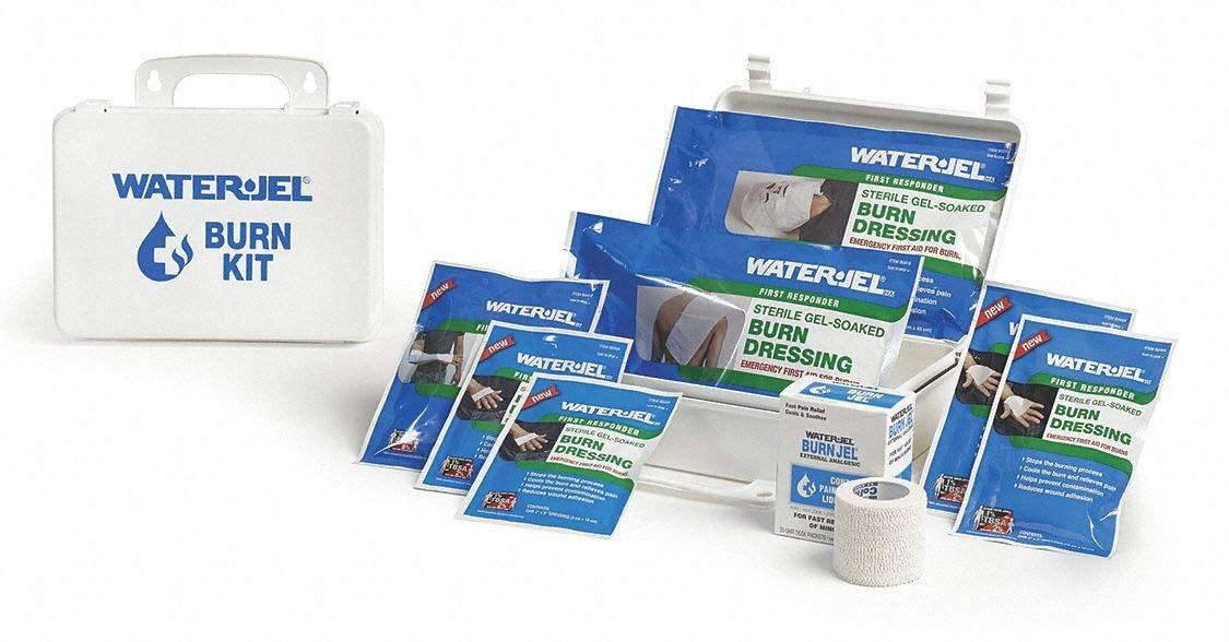 Burn Care Kit, Plastic Case, Wht, 6-1/2'' H