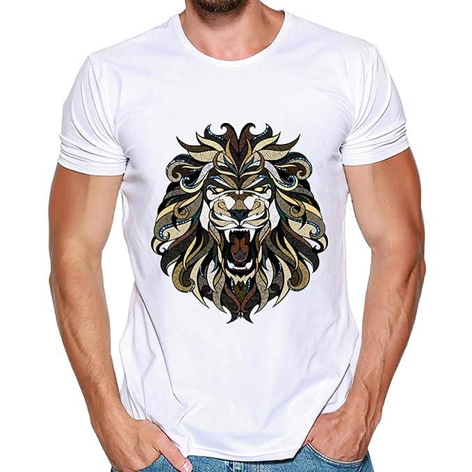 Hombres Que Imprimen Las Camisetas Camisa de Manga Corta Camiseta Blusa Tops de Internet: Amazon.es: Ropa y accesorios