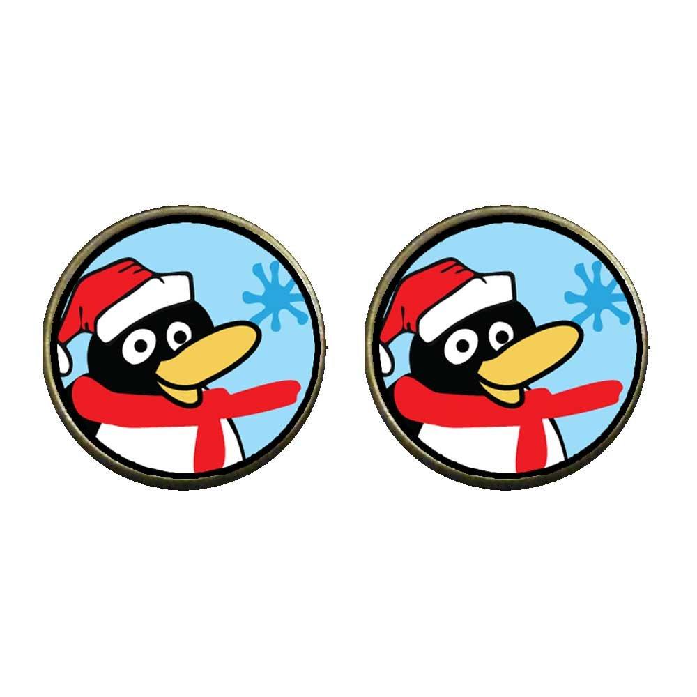 GiftJewelryShop Bronze Retro Style Happy Winter Penguin Photo Clip On Earrings 14mm Diameter