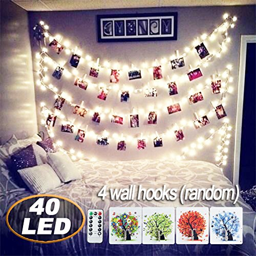 [Remote Control] 40 LED Photo Clips String Lights,18ft Battery Powered Indoor Fairy String Light for Hanging Pictures Cards and Memos , Ideal photos Light gift for Bedroom Decoration (Warm (Light Wall Hanging)