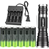 High 2000 Lumen LED 18650 Flashlight Tactical with 6PCS 3.7V Rechargeable Battery and 1PCS 4 Bay Battery Charger,Ultra…