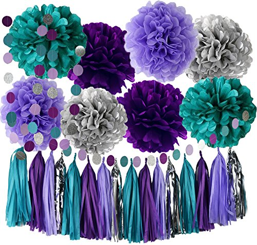 Purple Teal Mermaid Decorations Mermaid Party Supplies Teal Purple Silver Tissue Pom Pom Circle Garland Tassel Garland Mermaid Birthday Decorations Under The Sea Party Decor -