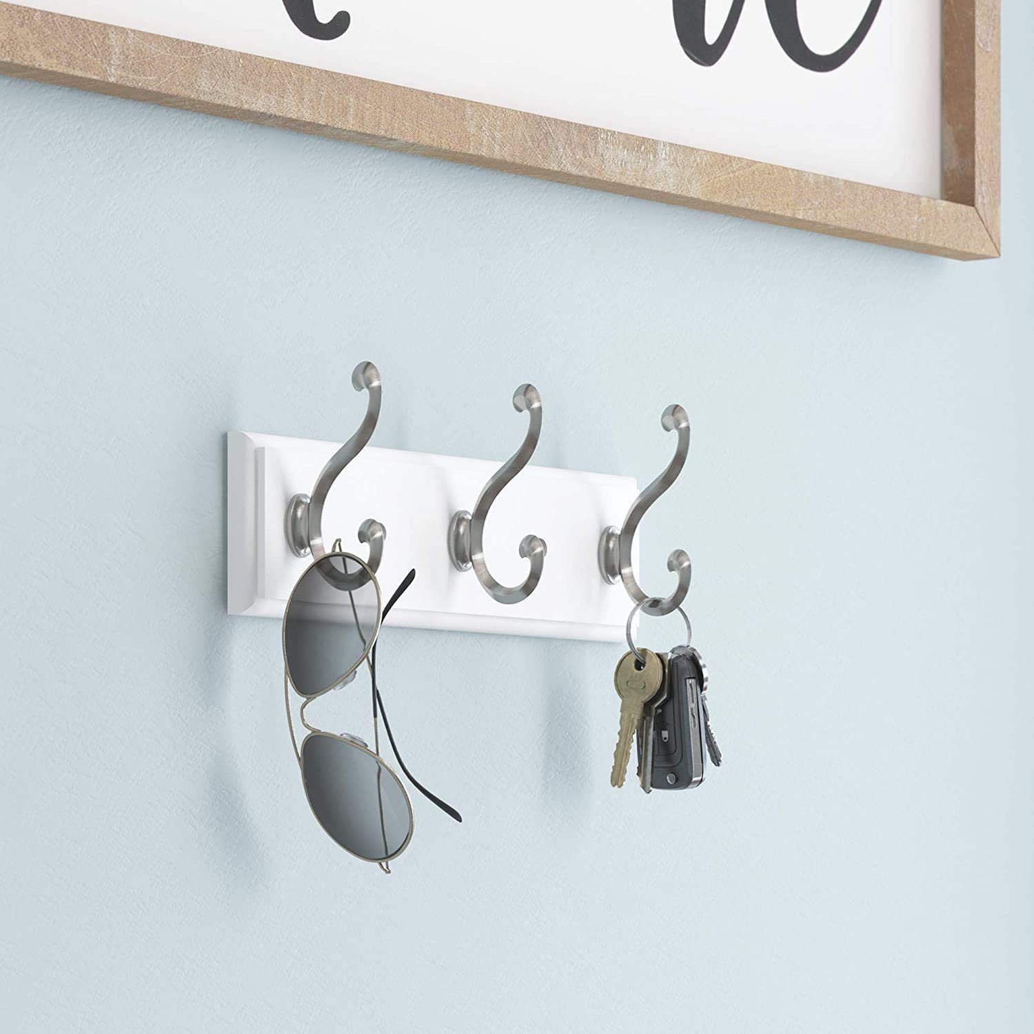 10-Inch Satin Nickel and White Wall Mounted Coat Rack with 3 Decorative Hooks
