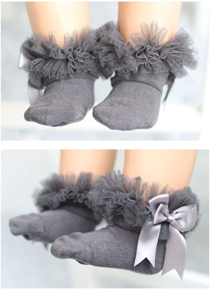 Aisence Bowknot Baby Kids Girls Princess Sock Lace Ruffle Frilly Trim Ankle Socks Size S 0Y-2Y Grey
