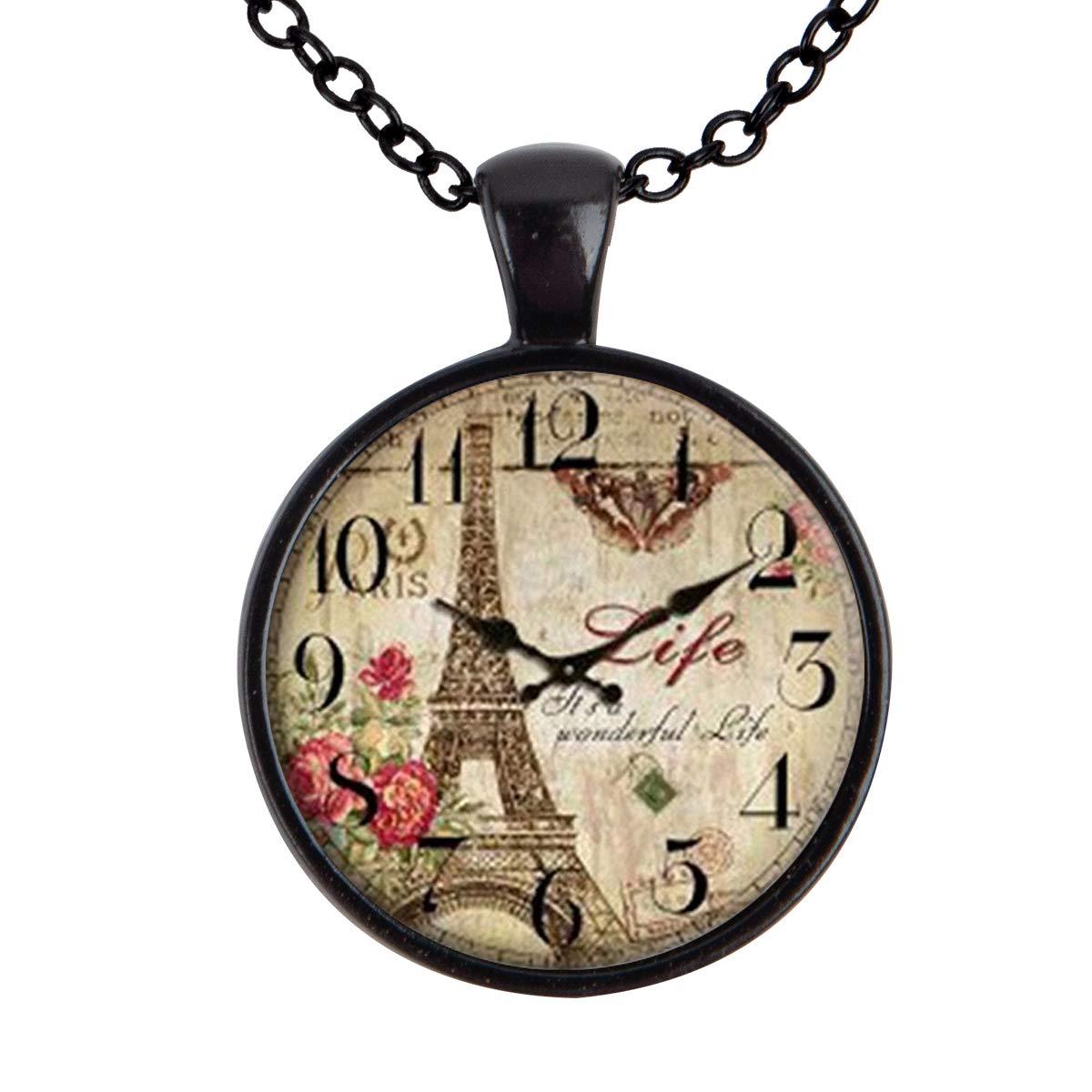 Lightrain Retro Clock Eiffel Tower Pendant Necklace Vintage Bronze Chain Statement Necklace Handmade Jewelry Gifts