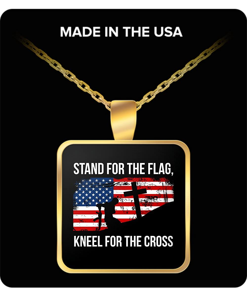 Kneel For The Cross Patriotic Necklace Stand For The Flag